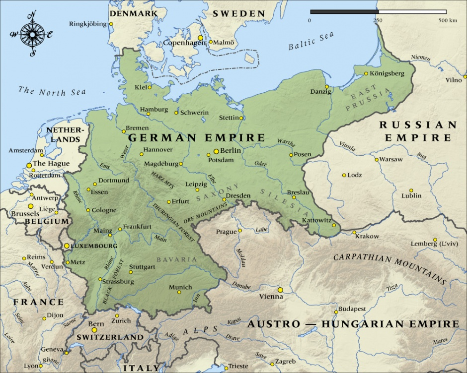 A map of Germany's European empire. The eastern frontier would