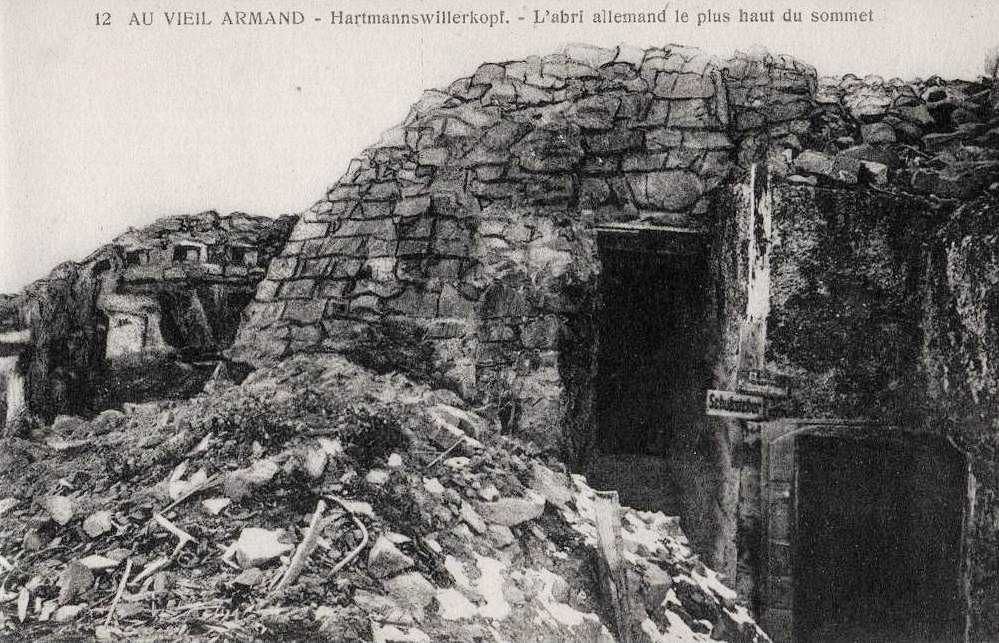 A postcard photo of German bunkers on the peak of Hartmannswillerkopf. Via DelCampe.net