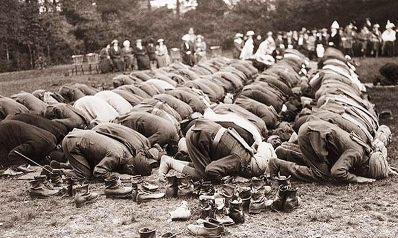 Men of the 129th Baluchis pray at the Shah Jahan Mosque in Woking, England