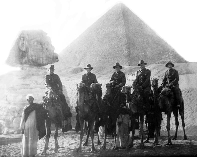 Australian troops visiting the Gaza pyramids on camel-back prior to the Gallipoli landings