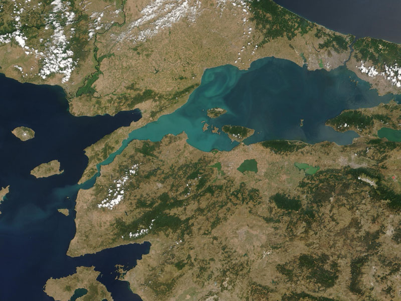 A satellite map of the Dardanelles, Hellespont, and Sea of Marmara