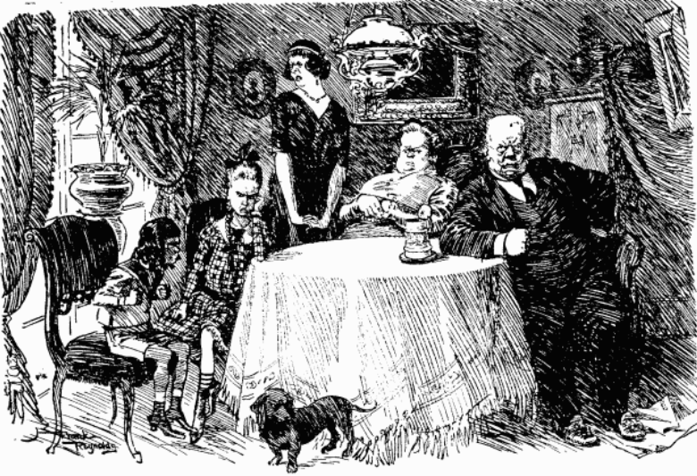 'Study of a Prussian household having its morning hate,' a cartoon published in the 24 February edition of Punch