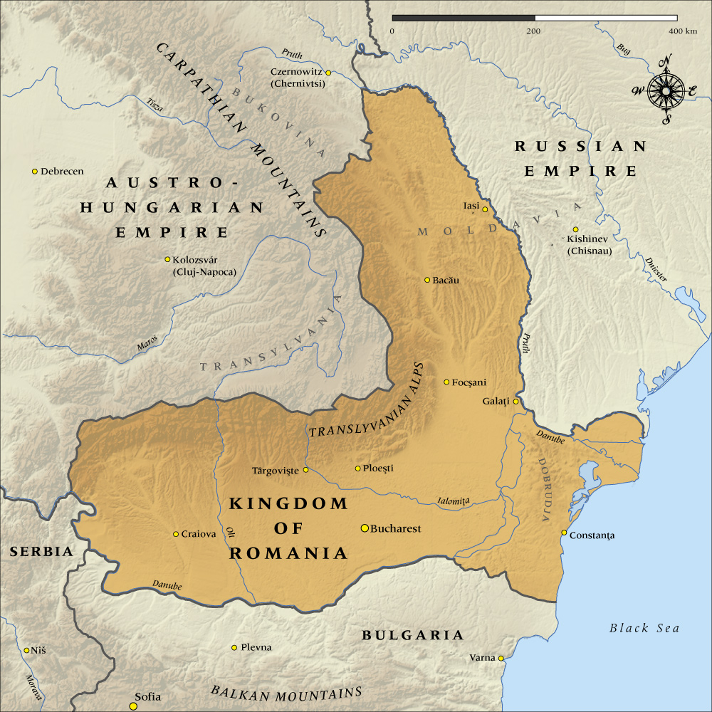 A map of Romania in 1914