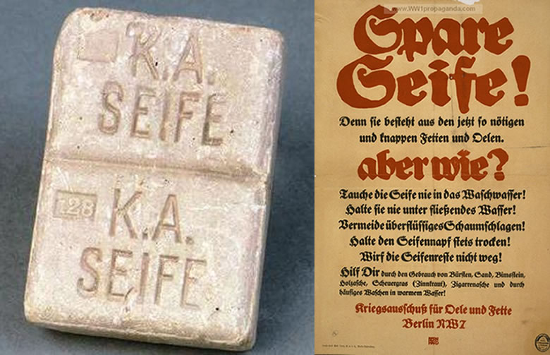 Left: a kreigseife ration kept by a British POW. Right: a poster tells Germans how to cut back on consumption of soap and oils