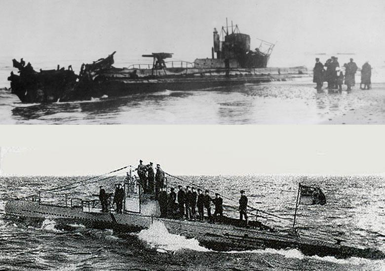 Top: U-20 scuttled on a Danish beach in 1920. Bottom: U-20 at sea.