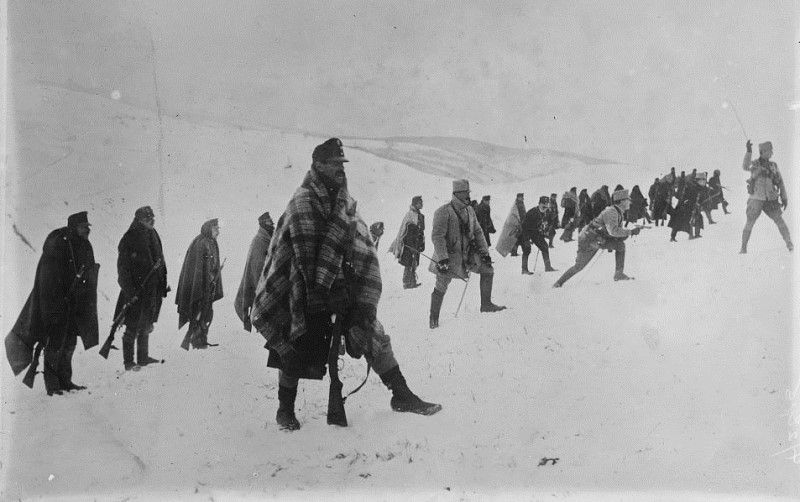 Austrian soldiers in the Carpathians, December 1914. Note they are wearing blankets as they prepare to charge uphill in the snow