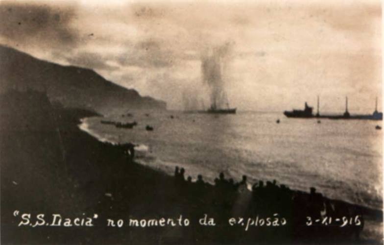 The SS Yser, formerly the Dacia, being sunk with explosives