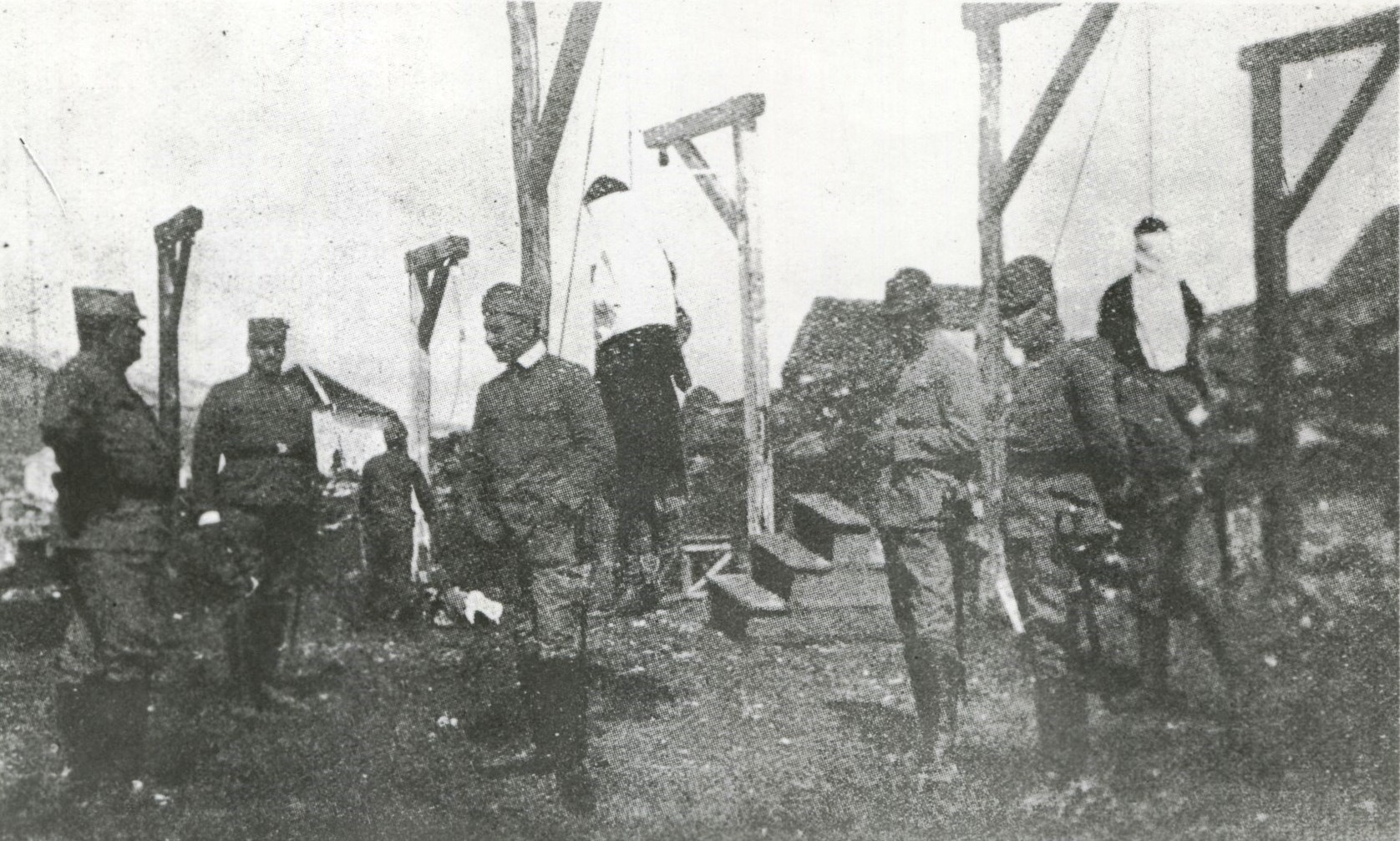 The Austro-Hungarians' official photograph of the hanging