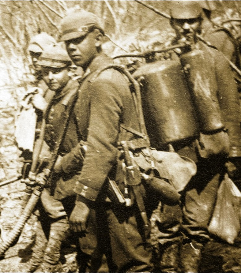 A heartbreakingly-young flamethrower team on the Italian front near Isonzo