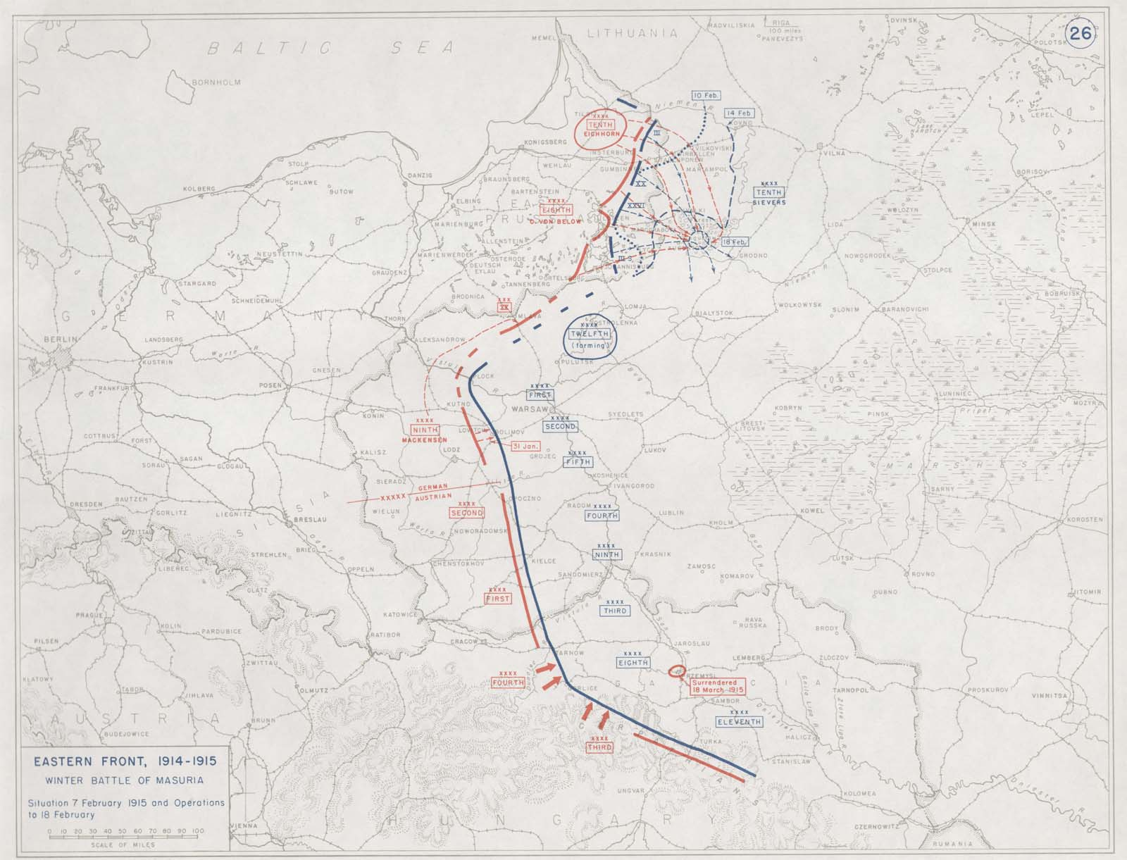 A map of the Masurian Lakes campaign. Click to embiggen