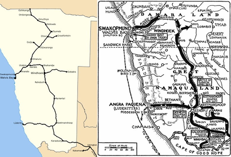 Left: a map of the modern Namibian rail system. Right: a campaign map of the central and southern Namibian regions shows all the maneuver and fighting taking place along rail lines and associated roads
