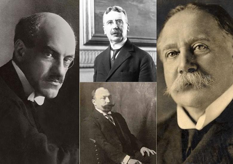 Left: Edwin Montagu. Top: Charles Sergent. Right: Walter Cunliffe. Bottom: Peter Bark