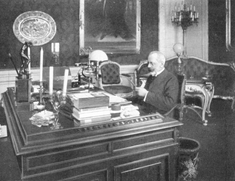 Burian at his desk
