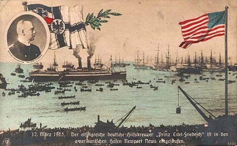 A contemporary German postcard of the in the harbor at Newport News