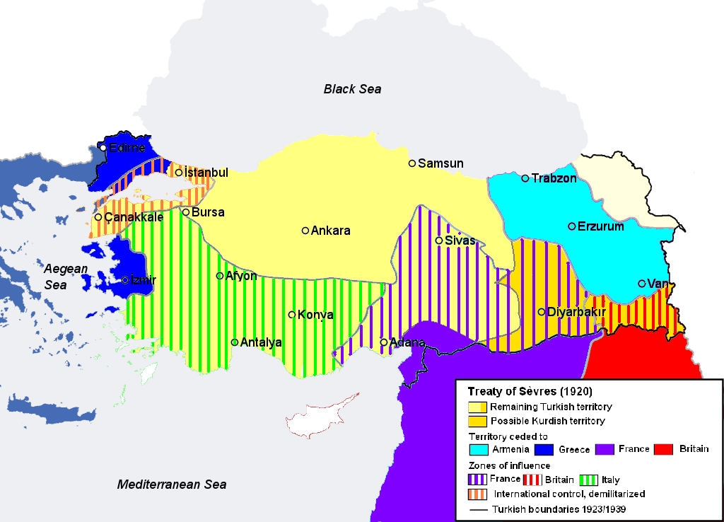 A map of the 1920 Treaty of Sevres