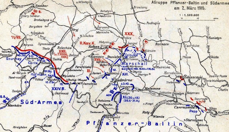 A map showing Südarmee's retreat in the face of Russian attacks despite gains in Bukovina