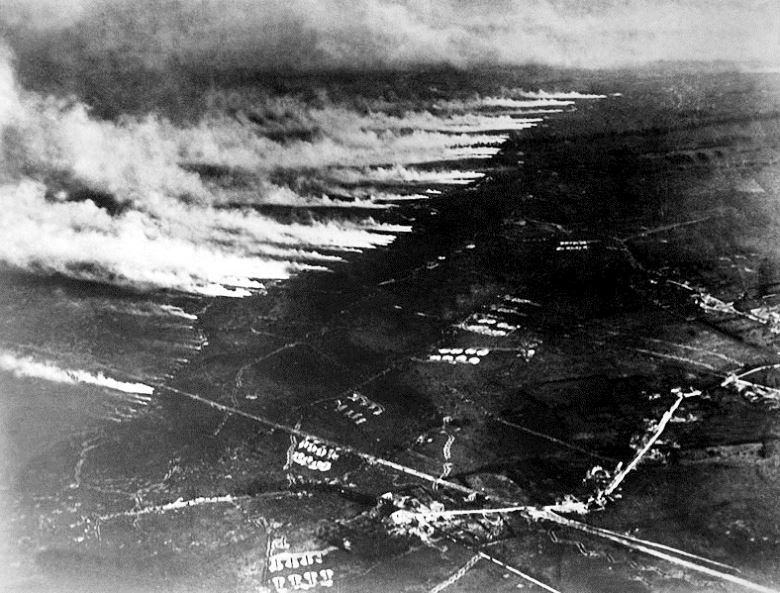 A French gas attack in Flanders in 1917 using cylinder batteries in the front line.