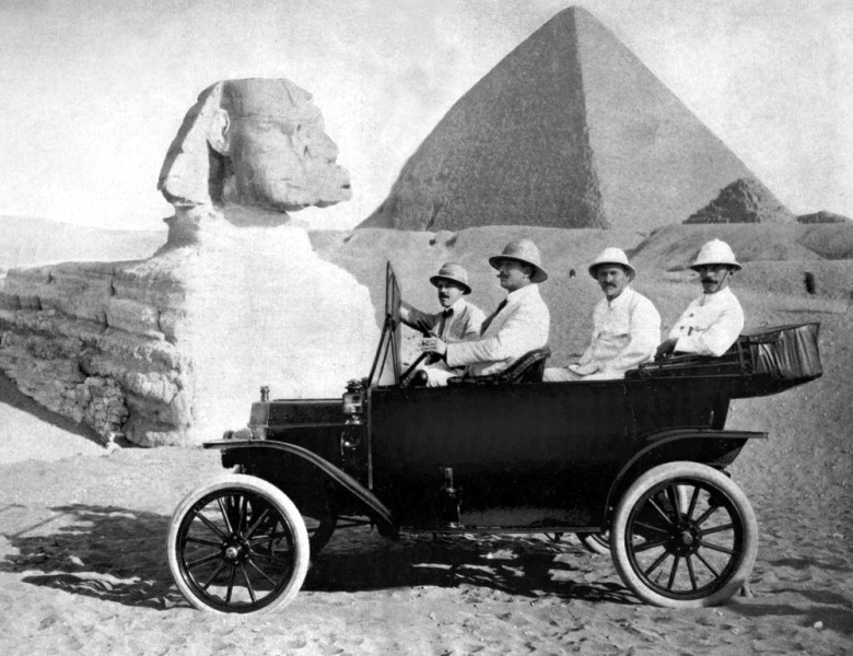 Taken before the war in 1914, this promotional photo of a Ford Model T underlines