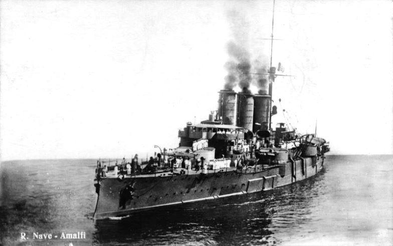 The Italian armored cruiser Amalfi, sunk by the UB-14