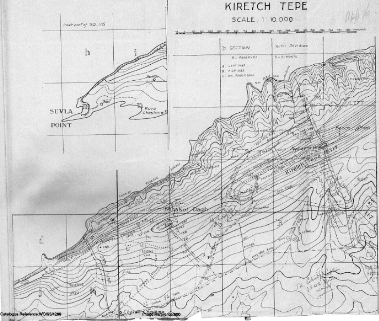 A sketch map of Suvla Point showing the lines of today's battle in red