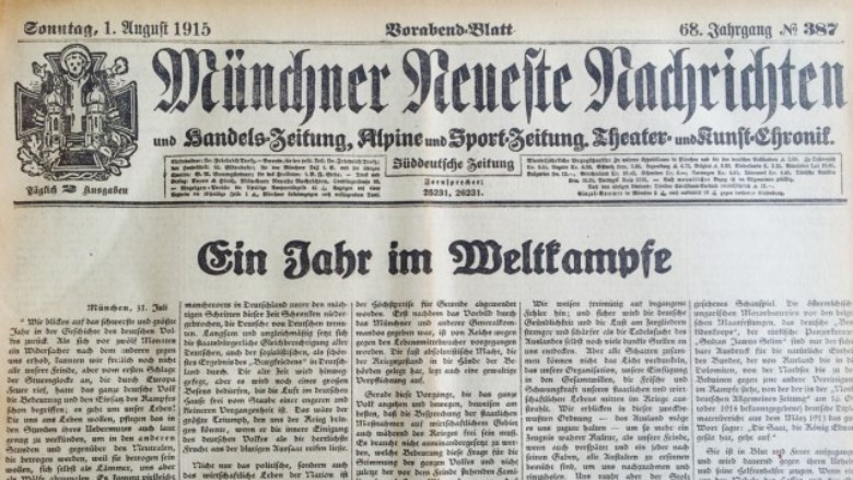 A German newspaper carries the Kaiser's proclamation of the front page