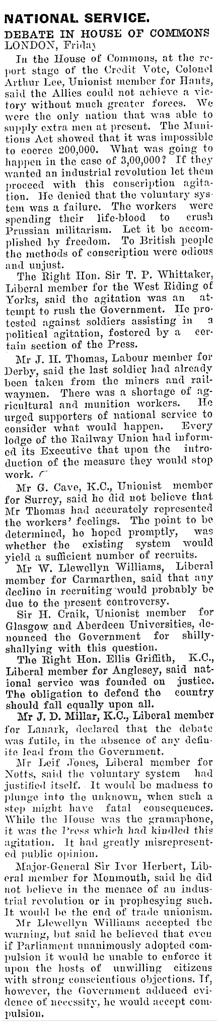 A wire service report on the day's debate preserved by the National Library of New Zealand