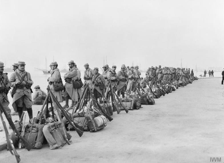 French 84th Infantry Regiment lined up along the waterfront at Salonika