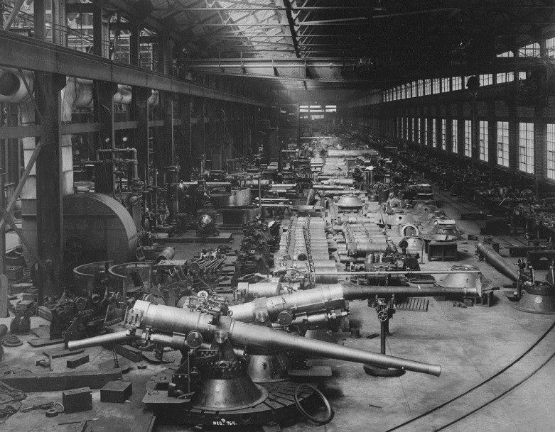 Big guns on the floor of Number Two Shop at Bethlehem steelworks