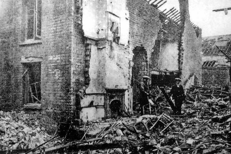 Bomb damage in Tipton. Air raids were seen as an atrocity