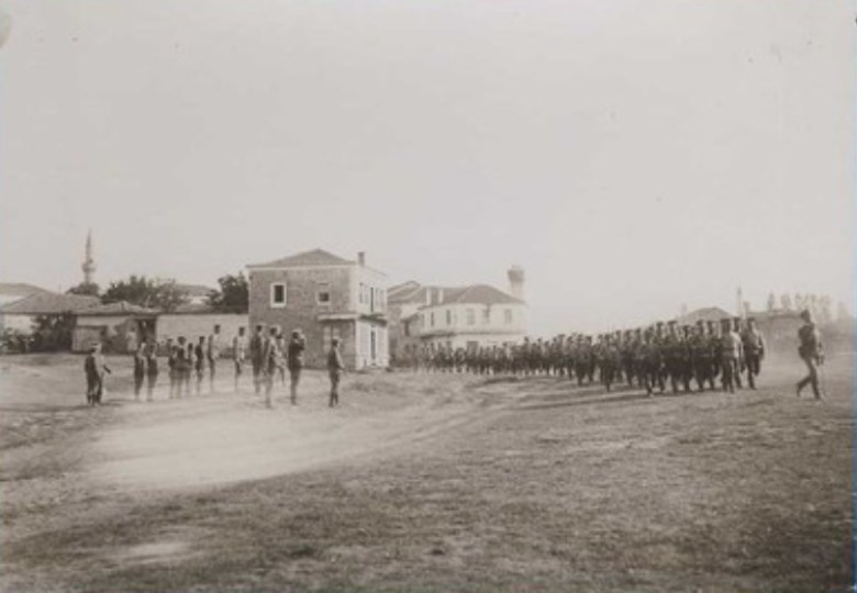 39th Infantry Regiment marching in front of Bulgarian generals in the town of Xanthi