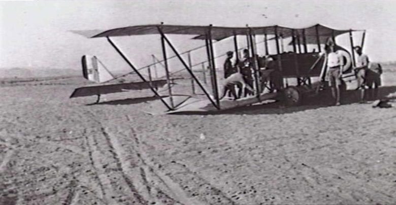 A MAURICE FARMAN SHORTHORN AIRCRAFT OF NO. 2 SQUADRON, AUSTRALIAN FLYING CORPS, (AFC), CRASH LANDED ON THE SAND AT HELIOPOLIS. (DONOR S. CLEREHAN)